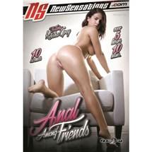 Brunette female in lingerie topless backside view