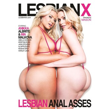 Two blonde females in lingerie displaying backside Lesbian Anal Asses