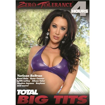 Brunette female in bikini top revealing clevage Total Big Tits