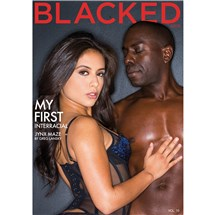 Brunette female in lingerie with male Blacked