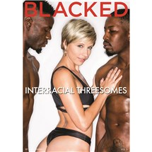 Blonde female wearing lingerie with two males Interracial threesome