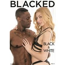 Blonde female wearing lingerie caressing male Blacked