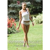 Brunette female wearing lingerie walking outdoors Outdoor pleasures