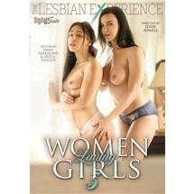 Two brunette females topless wearing lingerie touching Women loving Girls