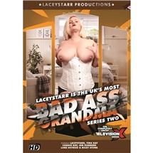 Blonde female wearing corset displaying breasts Bad Ass Grandma