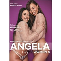 Two brunette females wearing sweaters and panties hugging Angela