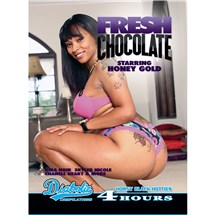 Brunette female suatting displaying buttocks fresh chocolate