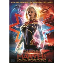Blonde female wearing super hero costume captain marvel XXX