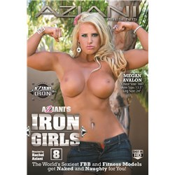 Blonde female topless flexing muscles displaying breasts iron girls