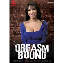Brunette female displaying cleavage orgasm bound
