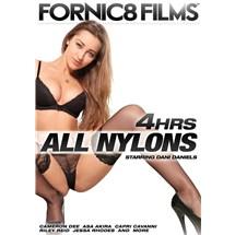 Brunette female posed squatting wearing lingerie all nylons