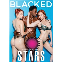 Two red haired females wearing lingerie caressing nude  blacked stars