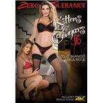 Brunette female wearing lingerie  kneeling at feet of blonde female wearing lingerie
