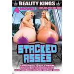 Two blondes posed nude displaying buttocks stacked asses