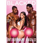 Brunette female wearing lingerie with two nude males blacked