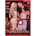 Blonde TS female posed wearing lingerie caressing clothed male